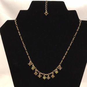 Lia Sophia necklace NWOT in gold with Green&smoke